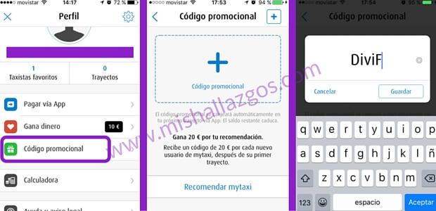introducir codigo promocional en mytaxi
