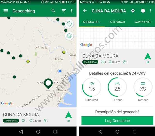 app geocaching con ninos - mis hallazgos